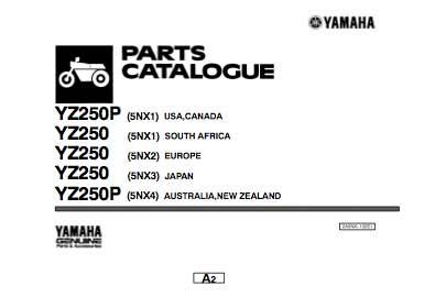 Yamaha yz250 katalog części - 2001