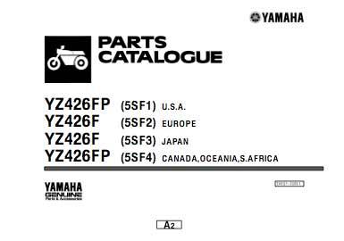 Yamaha yz426 katalog części - 2001