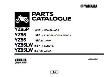 Yamaha yz85 katalog części - 2001